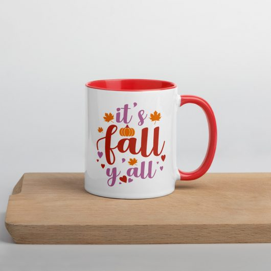 Its Fall Yall Design 2 Mug with Color Inside