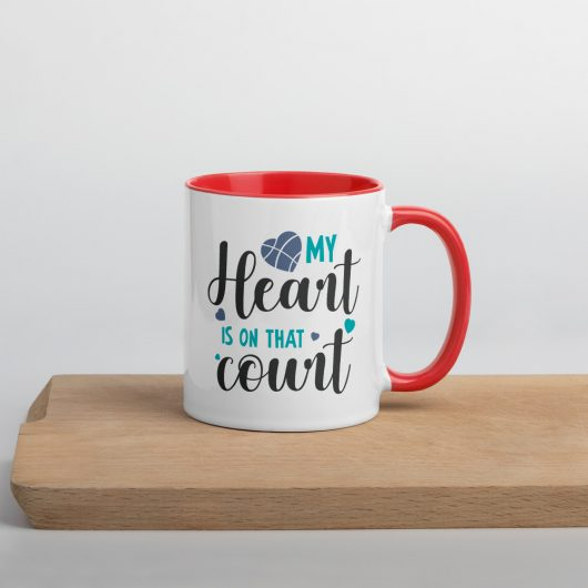 My Heart Is On That Court Design 2 Mug with Color Inside