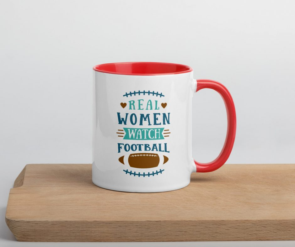 Real Women Watch Football Mug with Color Inside