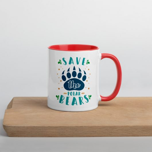 Save The Polar Bears Mug with Color Inside