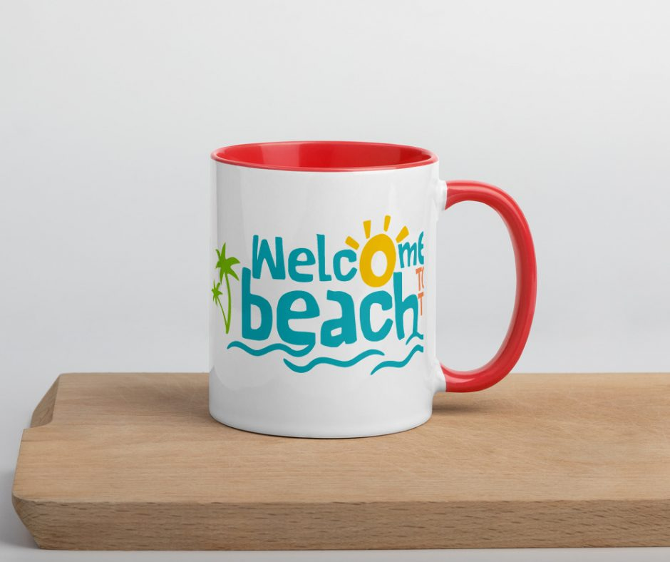 Welcome To The Beach Mug with Color Inside