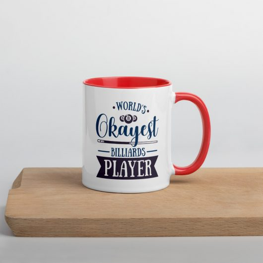 Worlds Okayest Billiards Player Mug with Color Inside