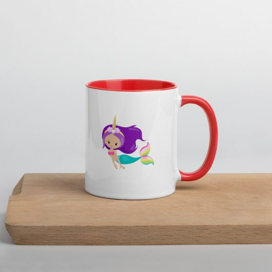 Free As The Ocean Unicorn Mermaid Mug with Color Inside