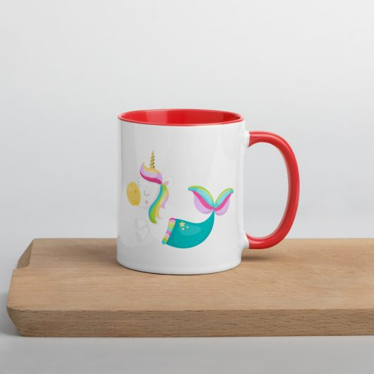 I Am Chilling With A Unicorn Mermaid Mug with Color Inside