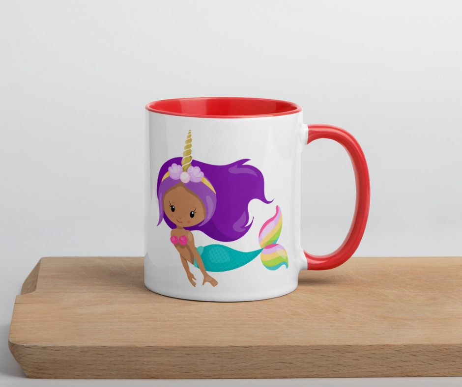Lets Go Swimming With Unicorn Mermaid Mug with Color Inside