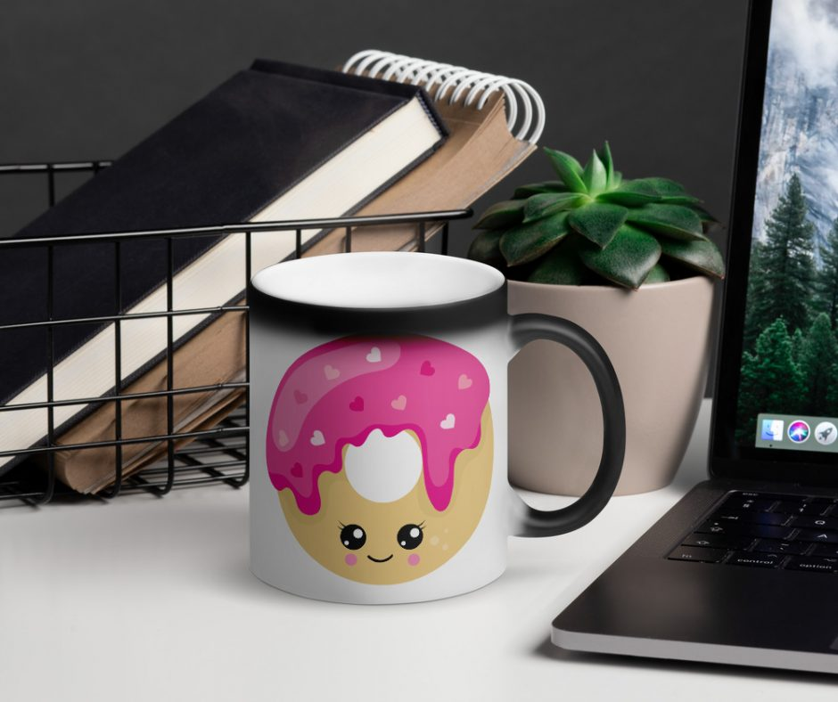 I Love Pretty Pink Donuts With Super Heart Sprinkles And Cute Eyes Matte Black Magic Mug