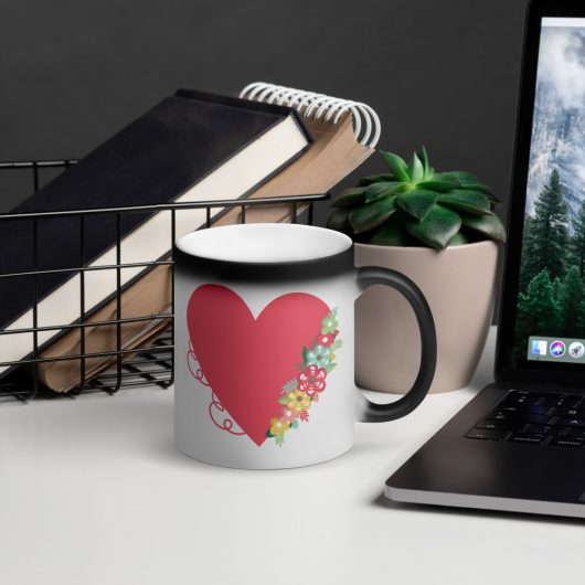 Valentines Day Floral Heart Of Passion Matte Black Magic Mug