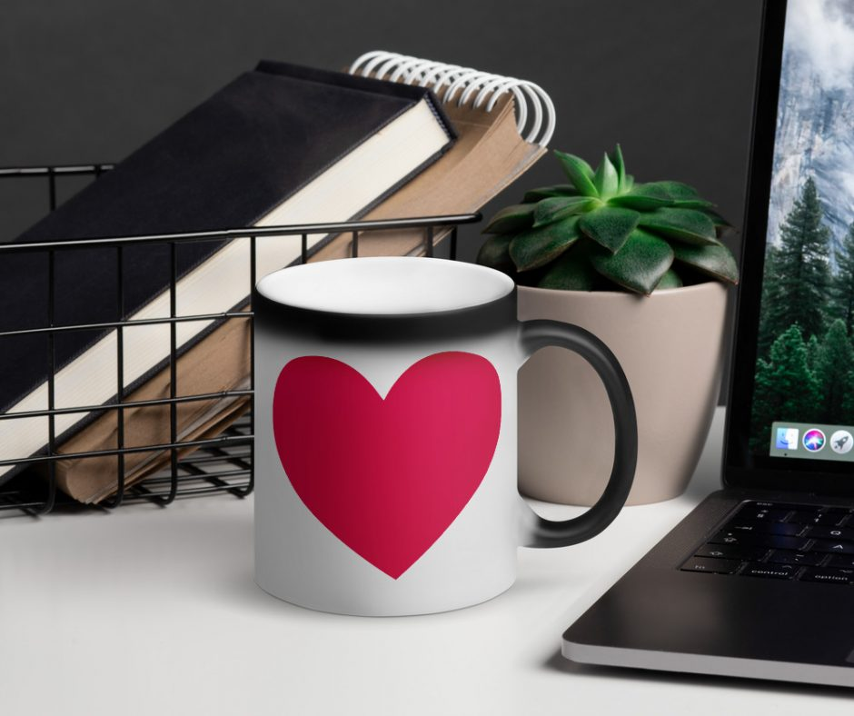 Valentines Day I Love You With My Whole Heart Matte Black Magic Mug