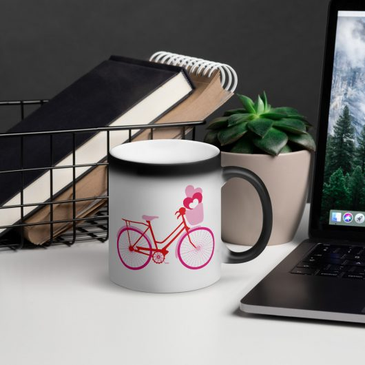 Valentines Day My Love Bicycle Is Ready For You Matte Black Magic Mug