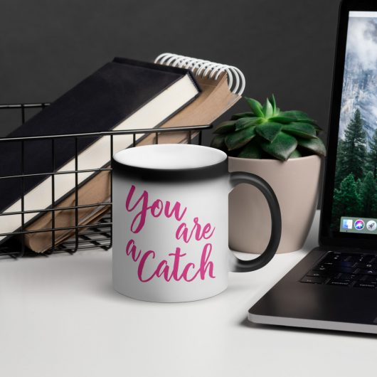 Valentines Day You Are A Catch Matte Black Magic Mug