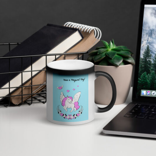 Have A Magical Day With Unicorns Matte Black Magic Mug