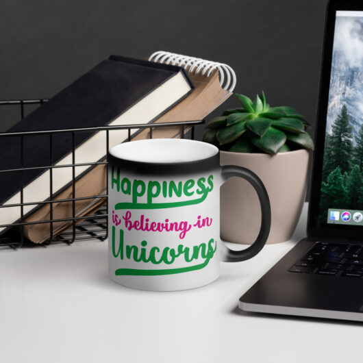 Happiness Is Believing In Unicorns Design 1 Matte Black Magic Mug