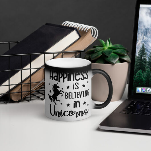 Happiness Is Believing In Unicorns Design 2 Matte Black Magic Mug