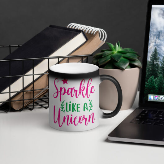 Sparkle Like A Unicorn Design 1 Matte Black Magic Mug