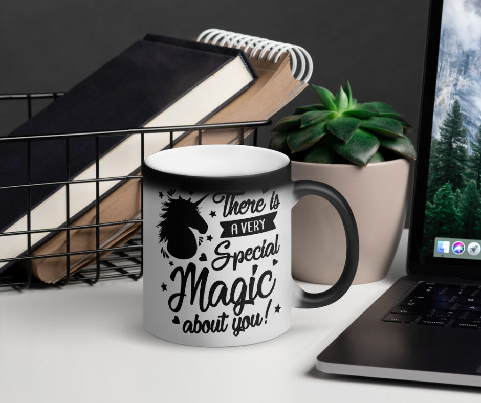 There Is A Very Special Unicorn Magic About You Design 2 Matte Black Magic Mug