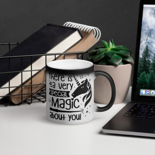 There Is A Very Special Unicorn Magic About You Matte Black Magic Mug