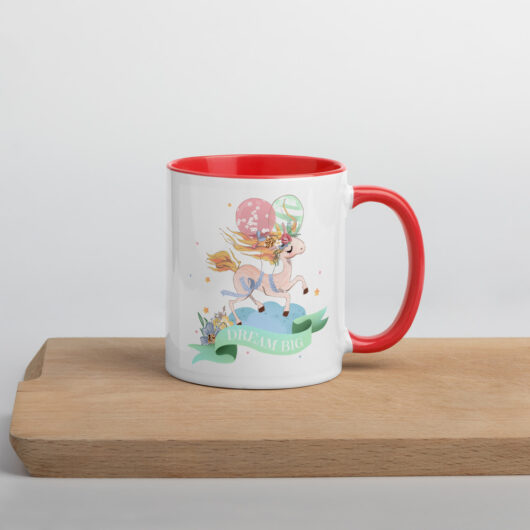 Dream Big With Unicorns Design 1 Mug with Color Inside
