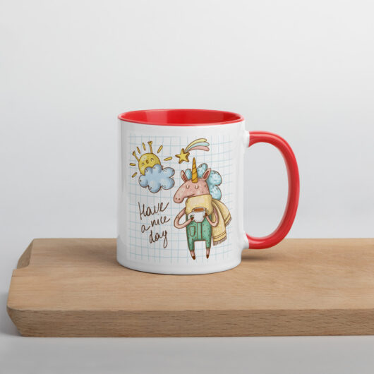 Have A Nice Day With Unicorns Design 2 Mug with Color Inside