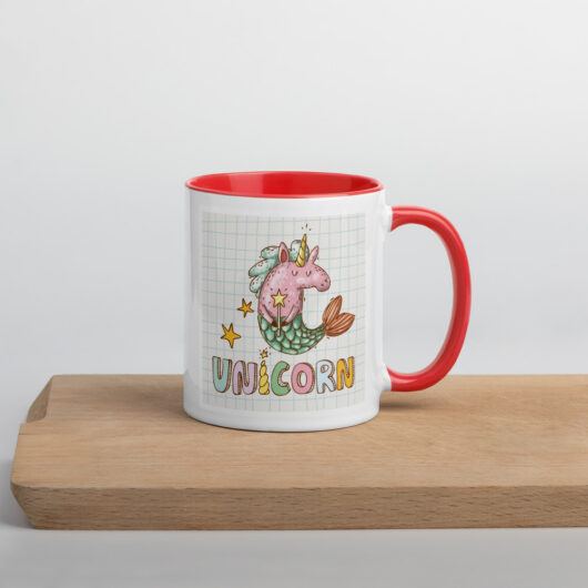 I Believe In Unicorns and Mermaids Mug with Color Inside
