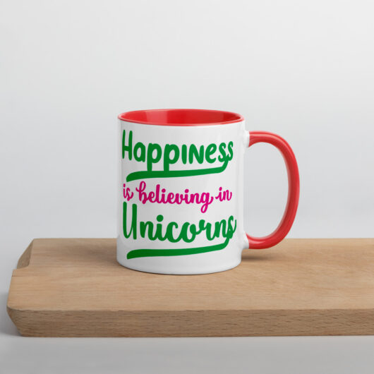 Happiness Is Believing In Unicorns Design 1 Mug with Color Inside
