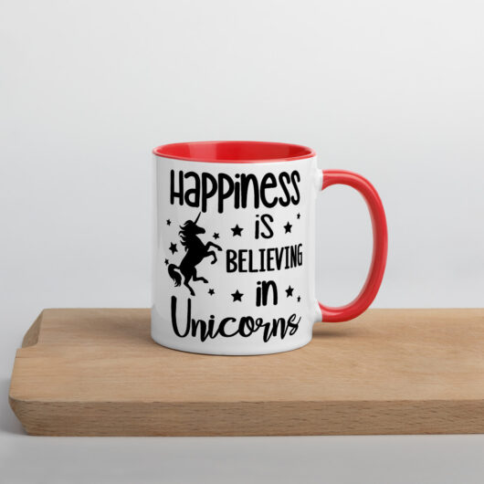 Happiness Is Believing In Unicorns Design 2 Mug with Color Inside