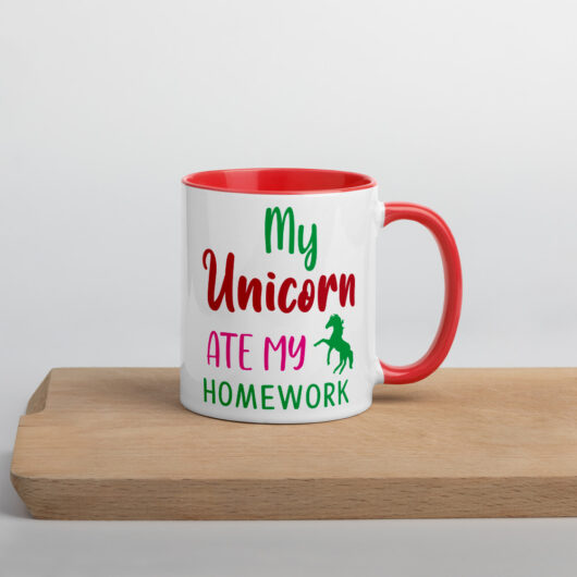 My Unicorn Ate My Homework Design 1 Mug with Color Inside