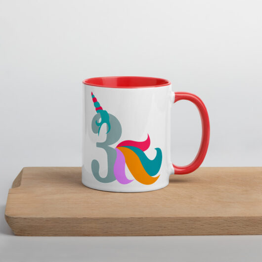 Proud To Be A 3 Year Old Unicorn Mug with Color Inside