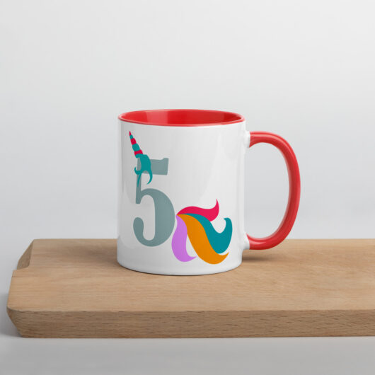 Proud To Be A 5 Year Old Unicorn Mug with Color Inside