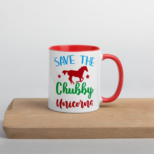 Save The Chubby Unicorns Design 1 Mug with Color Inside