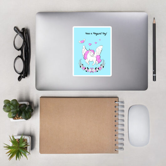 Have A Magical Day With Unicorns Bubble-Free Vinyl Sticker