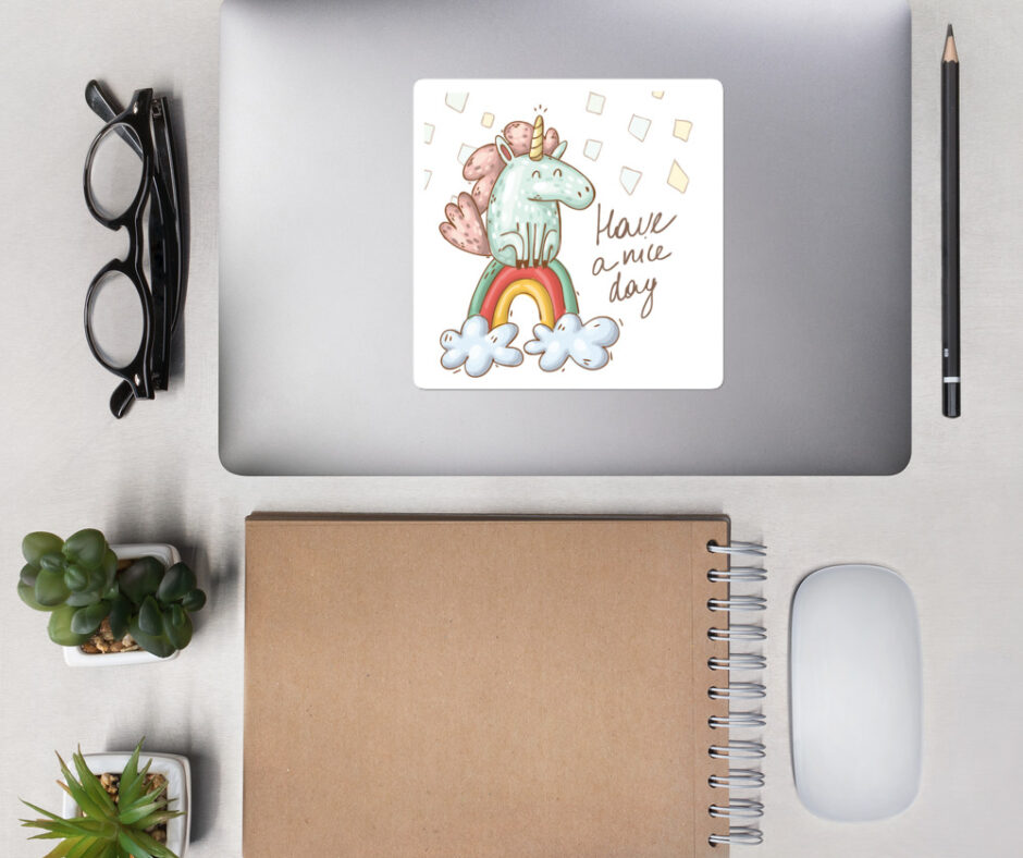 Have A Nice Day With Unicorns Design 1 Bubble-Free Vinyl Sticker