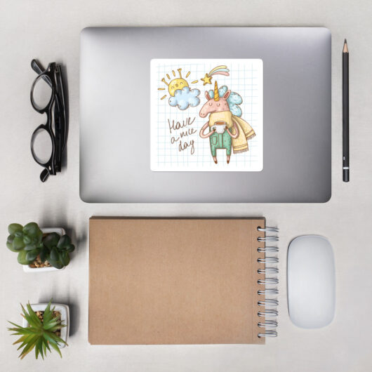 Have A Nice Day With Unicorns Design 2 Bubble-Free Vinyl Sticker