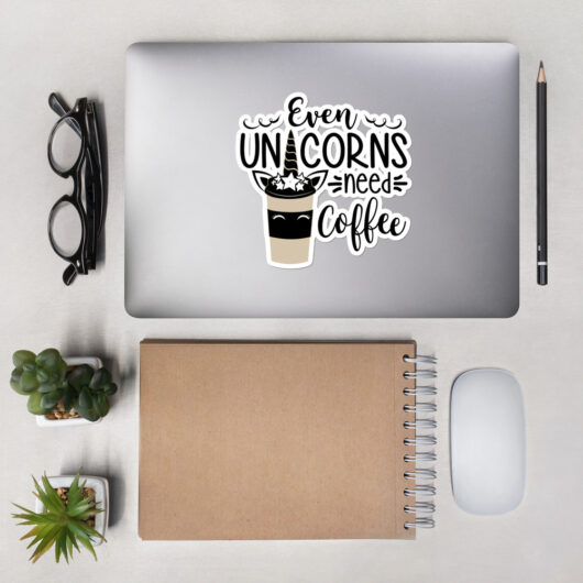 Even Unicorns Need Coffee Design 1 Bubble-Free Vinyl Sticker