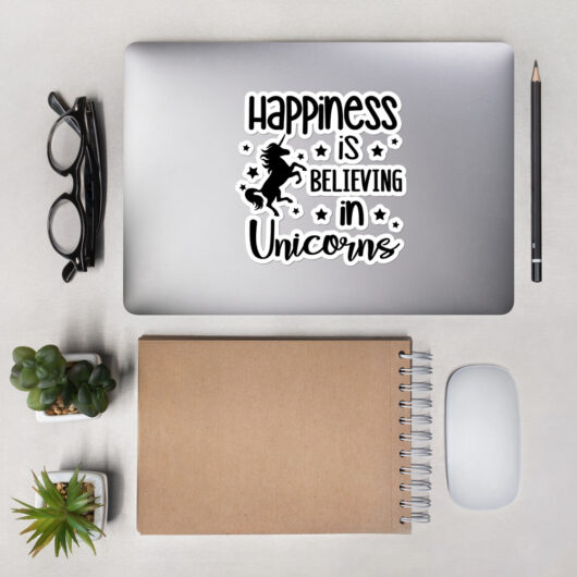 Happiness Is Believing In Unicorns Design 2 Bubble-Free Vinyl Sticker