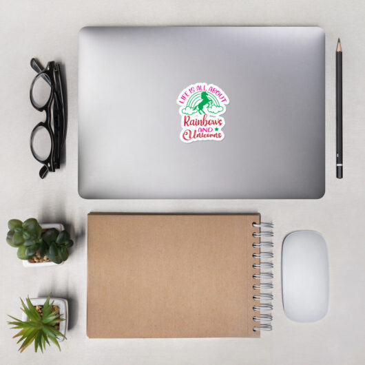 Life Is All About Rainbows And Unicorns Design 1 Bubble-Free Vinyl Sticker