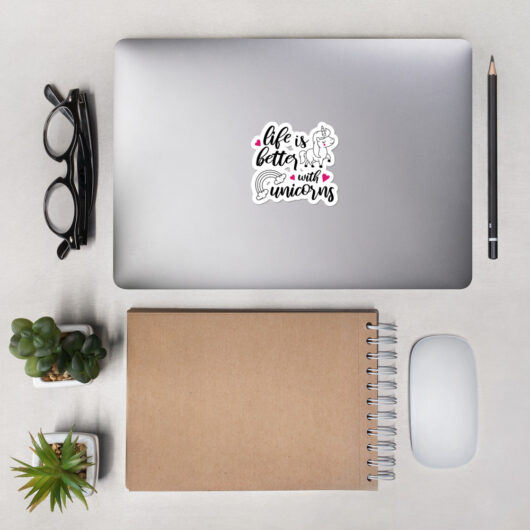 Life Is Better With Unicorns Design 2 Bubble-Free Vinyl Sticker