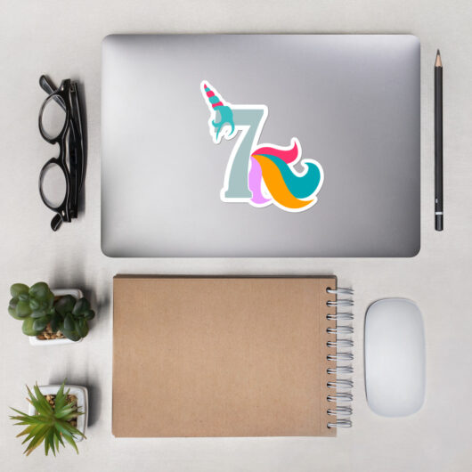 Proud To Be A 7 Year Old Unicorn Bubble-Free Vinyl Sticker