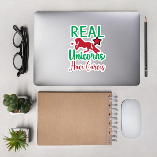 Real Unicorns Have Curves Design 1 Bubble-Free Vinyl Sticker