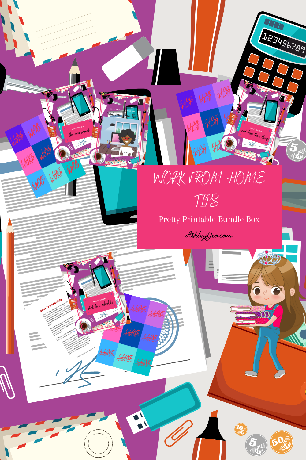 Work From Home Tips Pretty Printable Guide Pin