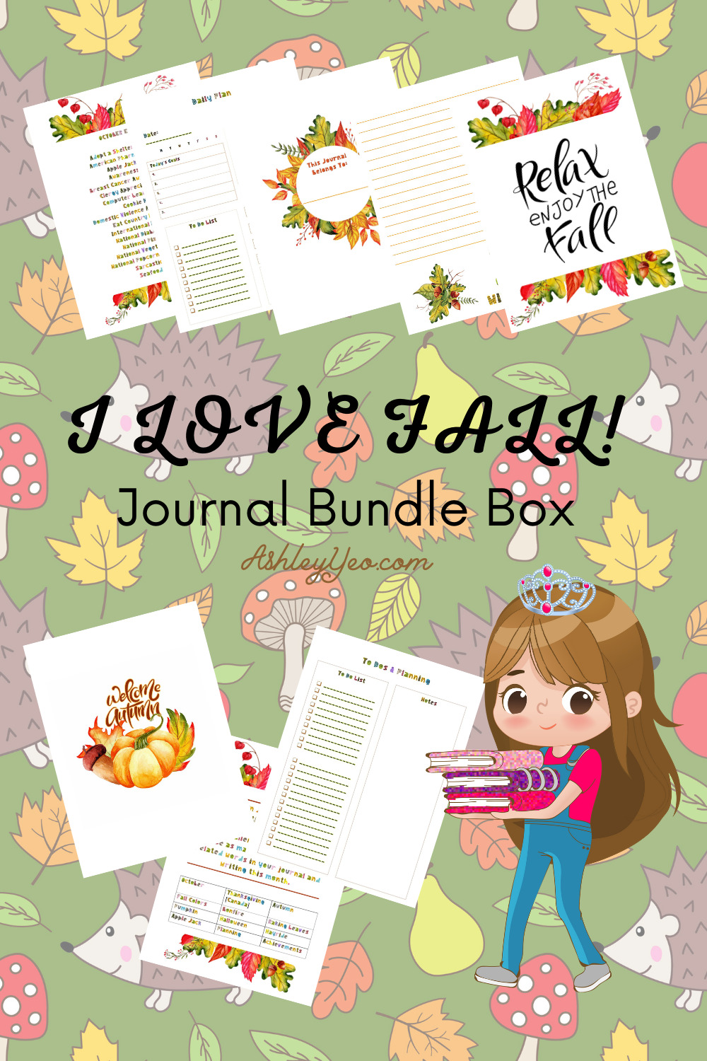 I Love Fall - October Printable Journal Pages, October Journal Prompts And October Writing Prompts Pin