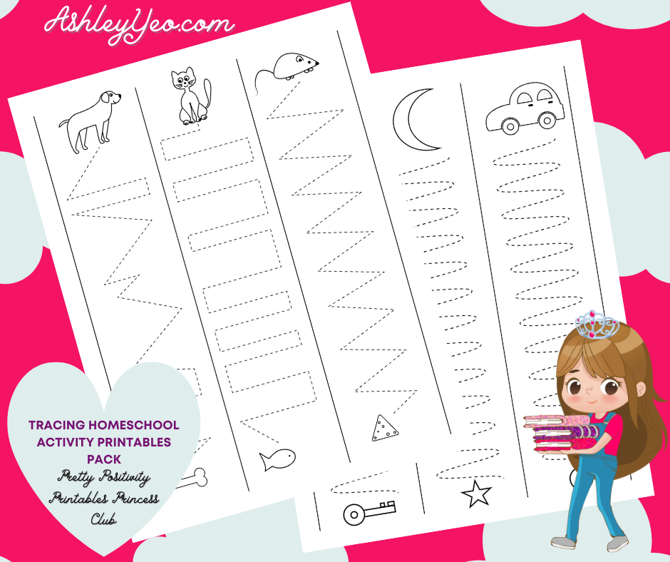 Tracing Homeschool Activity Printables Pack
