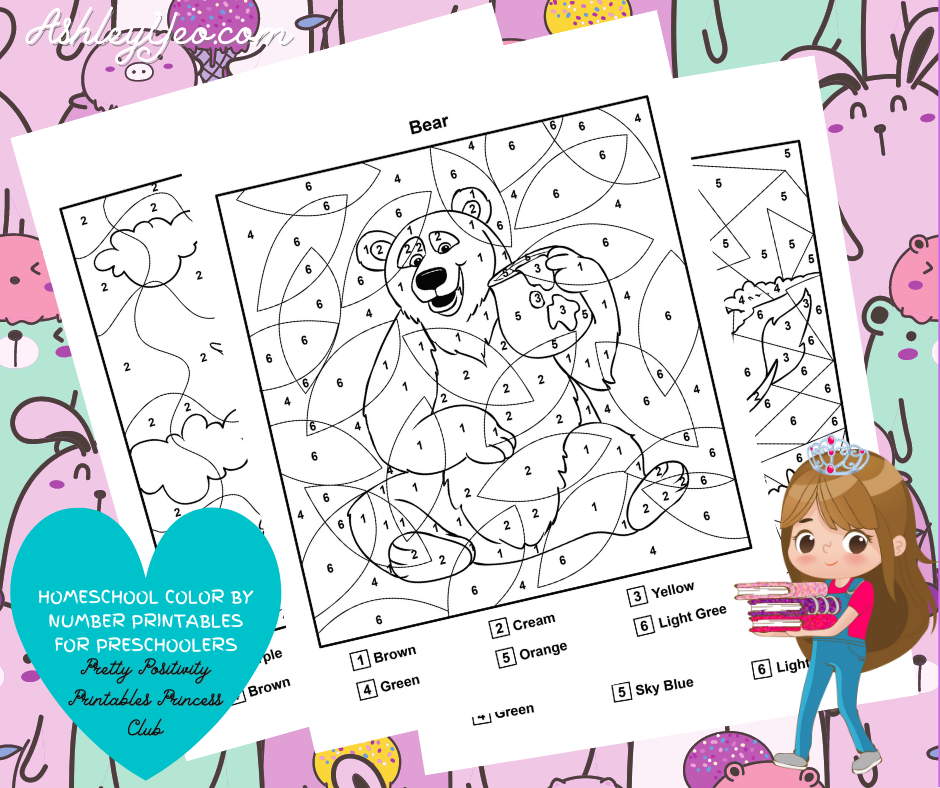 Homeschool Color By Number Printables For Preschoolers Mockup