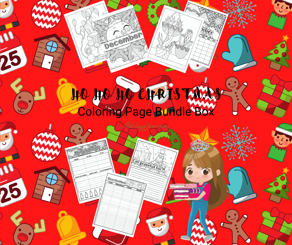 Ho Ho Ho Christmas December Coloring Page Bundle Box