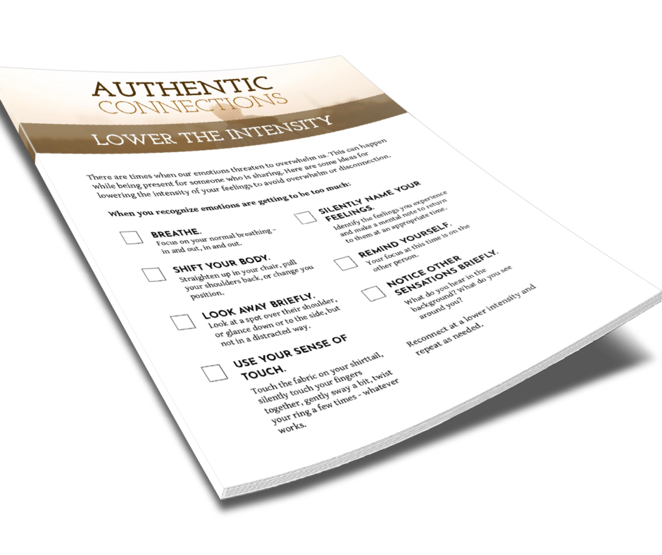 Authentic Connections Lower The Intensity Checklist