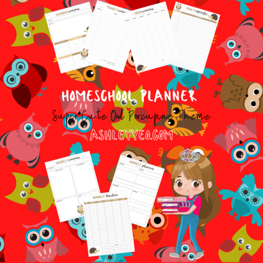 Homeschool Planner Super Cute Owl Porcupine Theme 2