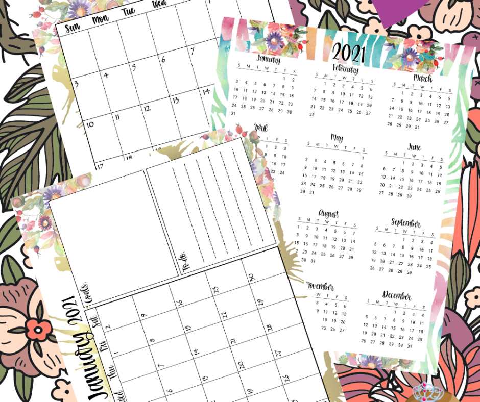 Just Released - Pretty Floral Planner Printables Bundle For 2021