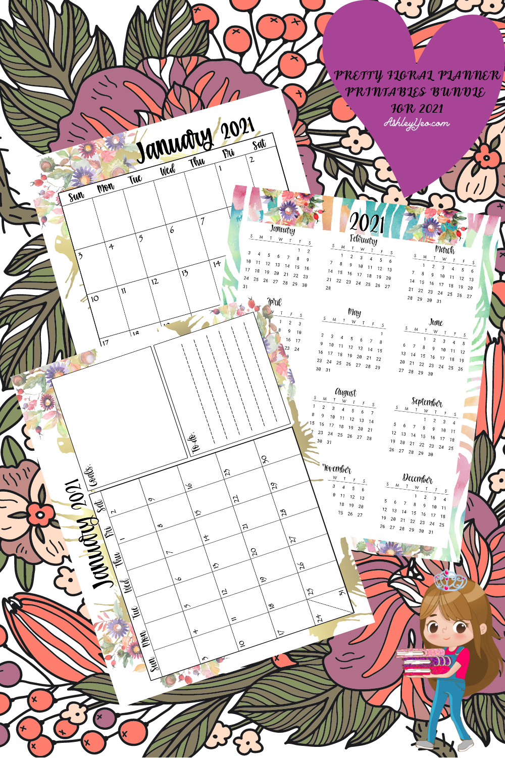 Pretty Floral Planner Printables Bundle For 2021