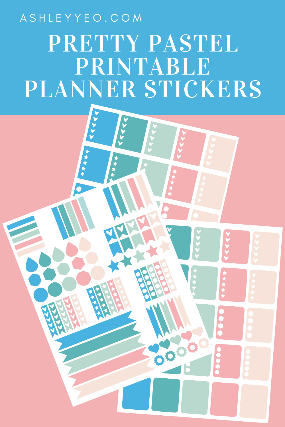 Pretty Pastel Printable Planner Stickers (Blue-Green)