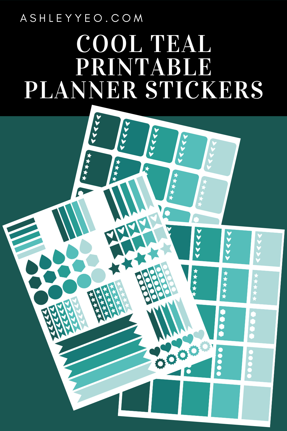 Cool Teal Printable Planner Stickers