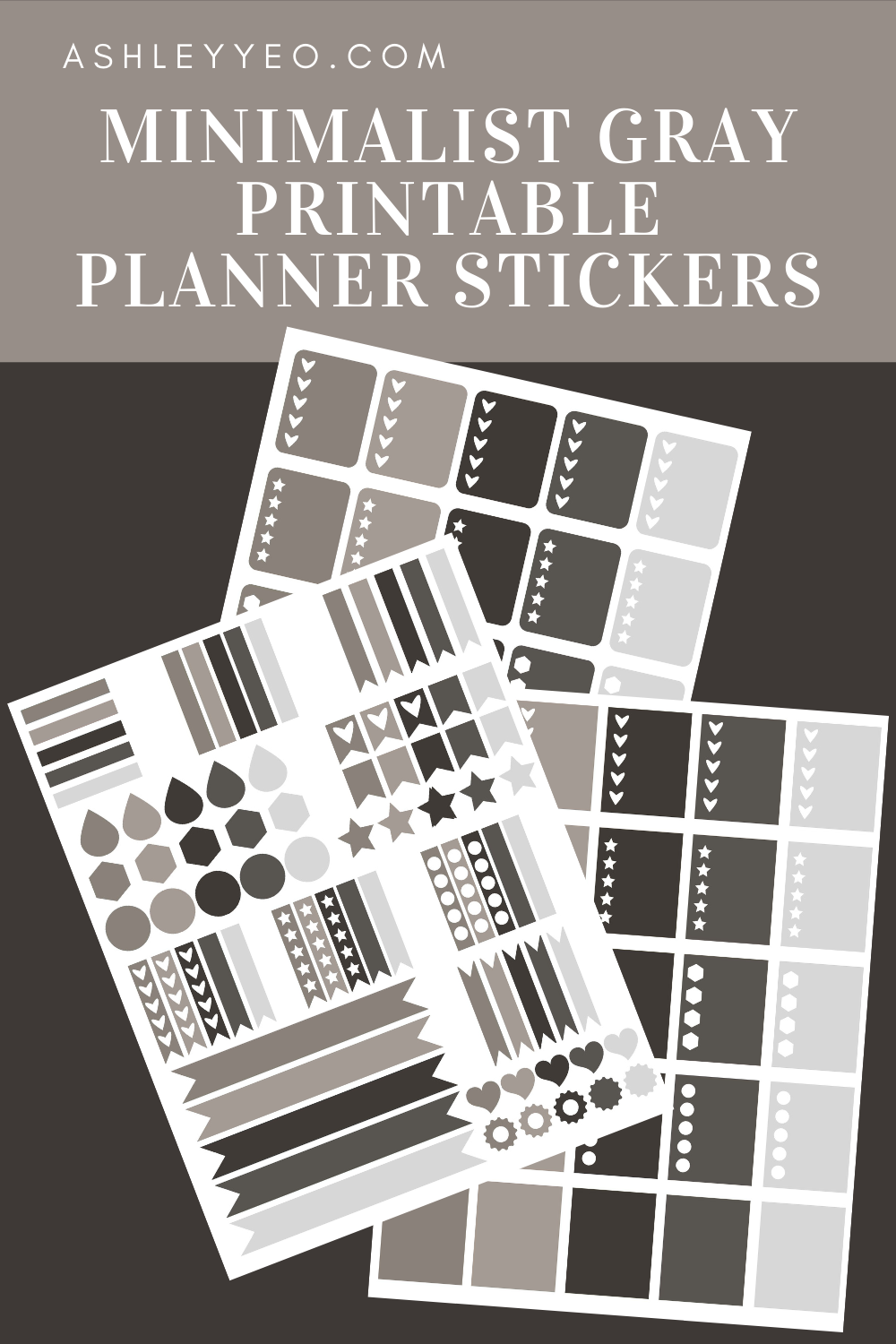 Minimalist Gray Printable Planner Stickers